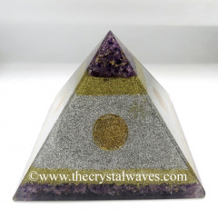 White Metal Amethyst Chips Orgone Pyramids With Flower Of Life Symbol