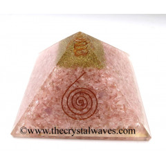 Rose Quartz Chips Big Orgone Pyramids With Copper Wrrapped Crystal Point