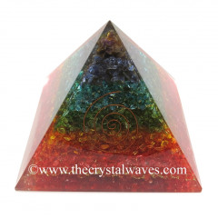 Chakra Dyed Layered Chips Big Orgone Pyramids With Copper Wrrapped Crystal Point