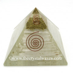 Selenite Chips Big Orgone Pyramids With Copper Wrrapped Crystal Point