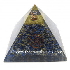 Lapis Lazuli Chips Big Orgone Pyramids With Copper Wrrapped Crystal Point