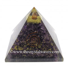 Amethyst Chips Big Orgone Pyramids With Copper Wrrapped Crystal Point