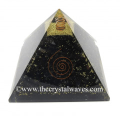 Black Tourmaline Chips Big Orgone Pyramids With Copper Wrrapped Crystal Point