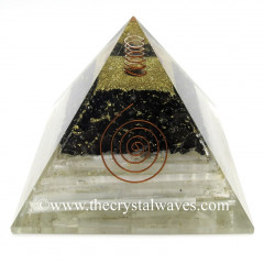 Black Tourmaline & Selenite Chips Big Orgone Pyramids With Copper Wrrapped Crystal Point