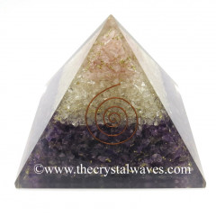 Rose Quartz, Crystal Quartz & Amethyst Chips Big Orgone Pyramids With Copper Wrrapped Crystal Point