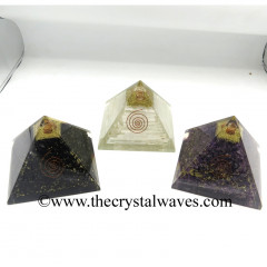Mix Assorted Gemstone Chips Big Orgone Pyramids With Copper Wrrapped Crystal Point