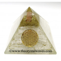 Selenite Chips Big Orgone Pyramids With Flower Of Life & Copper Wrrapped Crystal Point