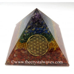 Chakra Natural Layered Chips Chips Big Orgone Pyramids With Flower Of Life & Copper Wrrapped Crystal Point