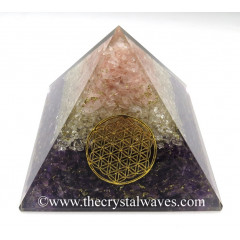 Rose Quartz, Crystal Quartz & Amethyst Chips Big Orgone Pyramids With Flower Of Life & Copper Wrrapped Crystal Point