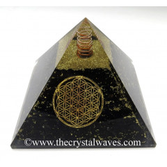 BlackTourmaline Chips Big Orgone Pyramids With Flower Of Life & Copper Wrrapped Crystal Point