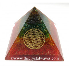 Chakra Dyed Quartz Layered Chips Big Orgone Pyramids With Flower Of Life & Copper Wrrapped Crystal Point