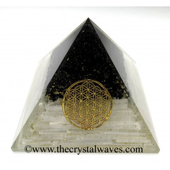 Black Tourmaline & Selenite Chips Big Orgone Pyramids With Flower Of Life & Copper Wrrapped Crystal Point
