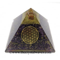 Amethyst Chips Big Orgone Pyramids With Flower Of Life & Copper Wrrapped Crystal Point