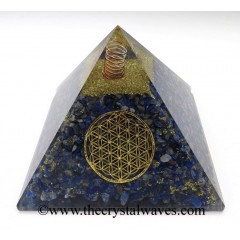 Lapis Lazuli Chips Big Orgone Pyramids With Flower Of Life & Copper Wrrapped Crystal Point