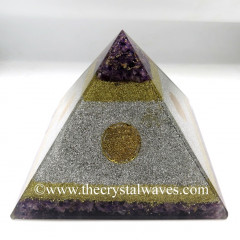 White Metal & Amethyst Chips Big Orgone Pyramids With Flower Of Life & Copper Wrrapped Crystal Point