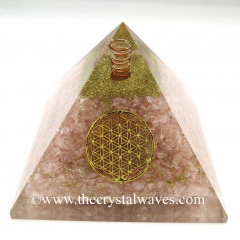 Rose Quartz Chips Big Orgone Pyramids With Flower Of Life & Copper Wrrapped Crystal Point