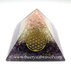 Rose Quartz, Crystal Quartz & Amethyst Chips Orgone Pyramids With Flower Of Life & Copper Wrrapped Crystal Point