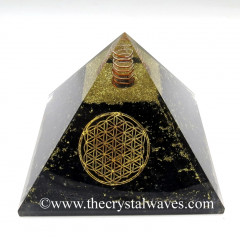 BlackTourmaline Chips Orgone Pyramids With Flower Of Life & Copper Wrrapped Crystal Point