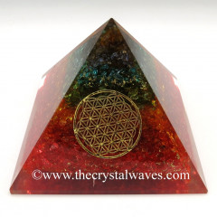 Chakra Syed Quartz Layered Chips Orgone Pyramids With Flower Of Life & Copper Wrrapped Crystal Point