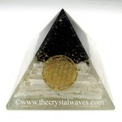 Black Tourmaline & Selenite Chips Orgone Pyramids With Flower Of Life & Copper Wrrapped Crystal Point