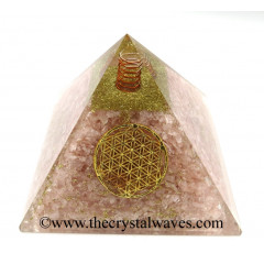 Rose Quartz Chips Orgone Pyramids With Flower Of Life & Copper Wrrapped Crystal Point