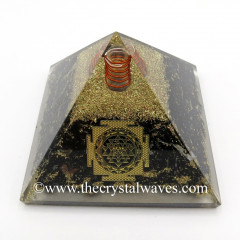Black Tourmaline Chips Orgone Pyramid With Meru Shreeyantra Symbol