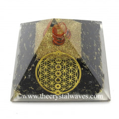 Black Tourmaline Chips Orgone Pyramid With Flower Of Life With Chakra Symbol