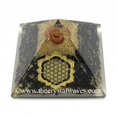 Black Tourmaline Chips Orgone Pyramid With New Flower Of Life Symbol
