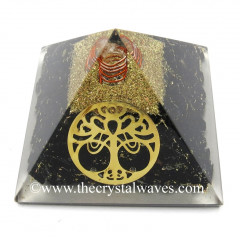 Black Tourmaline Chips Orgone Pyramid With New Tree Of Life Symbol
