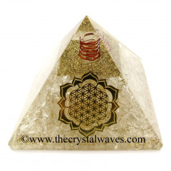 Crystal Quartz Chips Orgone Pyramid With New Flower Of Life Symbol