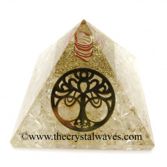 Crystal Quartz Chips Orgone Pyramid With New Tree Of Life Symbol