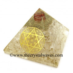 Crystal Quartz Chips Orgone Pyramid With Flower Of Life With Star Of David Symbol