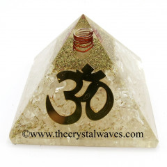 Crystal Quartz Chips Orgone Pyramid With Big Om  Symbol