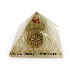 Crystal Quartz Chips Orgone Pyramid With Meru Shreeyantra Symbol