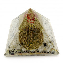 Rainbow Moonstone Chips Orgone Pyramid With Flower Of Life With Chakra Symbol