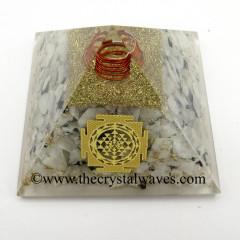 Rainbow Moonstone Chips Orgone Pyramid With Meru Shreeyantra Symbol