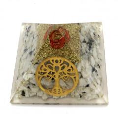 Rainbow Moonstone Chips Orgone Pyramid With New Tree Of Life Symbol