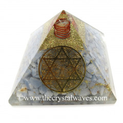 Angelite Chips Orgone Pyramid With Flower Of Life With Star Of David Symbol