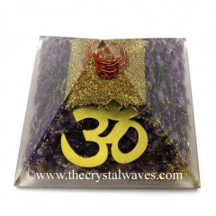 Amethyst Chips Orgone Pyramid With Big Om  Symbol