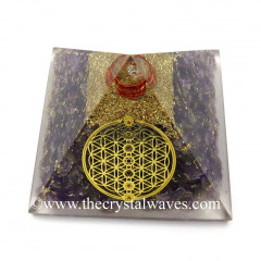 Amethyst Chips Orgone Pyramid With Flower Of Life With Chakra Symbol