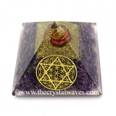 Amethyst Chips Orgone Pyramid With Flower Of Life With Star Of David Symbol