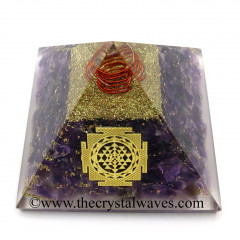 Amethyst Chips Orgone Pyramid With Meru Shreeyantra Symbol