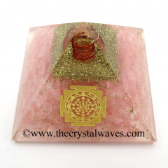 Rose Quartz Chips Orgone Pyramid With Meru Shreeyantra Symbol