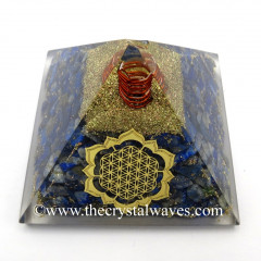 Lapis Lazuli Chips Orgone Pyramid With New Flower Of Life Symbol