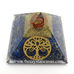 Lapis Lazuli Chips Orgone Pyramid With New Tree Of Life Symbol