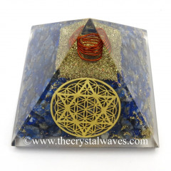 Lapis Lazuli Chips Orgone Pyramid With Flower Of Life With Star Of David Symbol