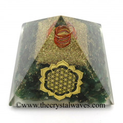 Green Aventurine Chips Orgone Pyramid With New Flower Of Life Symbol
