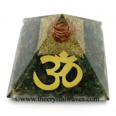Green Aventurine Chips Orgone Pyramid With Big Om  Symbol
