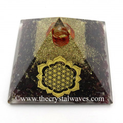 Garnet Chips Orgone Pyramid With New Flower Of Life Symbol