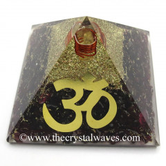 Garnet Chips Orgone Pyramid With Big Om  Symbol